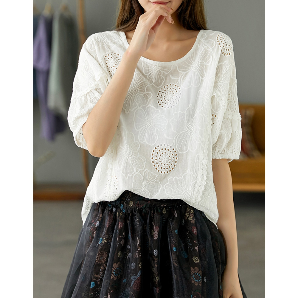 日系純棉刺繡襯衫蕾絲拚接鏤空短袖T恤-設計所在