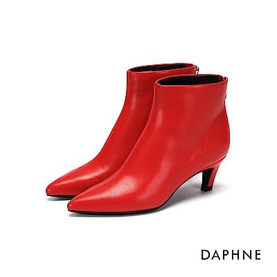 達芙妮DAPHNE 短靴-素色拼接拉鍊高跟短靴-紅