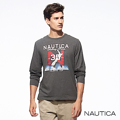 Nautica地圖圖騰純棉長袖TEE-深藍
