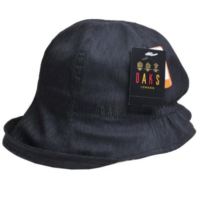 DAKS 品牌格紋滾邊字母刺繡LOGO單寧布漁夫帽(黑色)