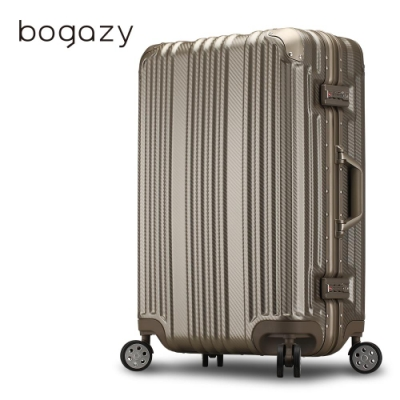 Bogazy 星球旅者 20吋PC鋁框霧面行李箱(香檳金)