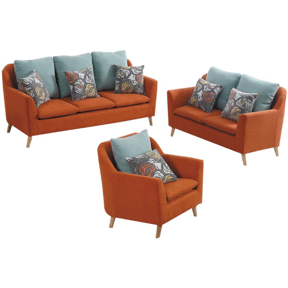 品家居 瑞典時尚紅絲絨布沙發椅組合(1+2+3)