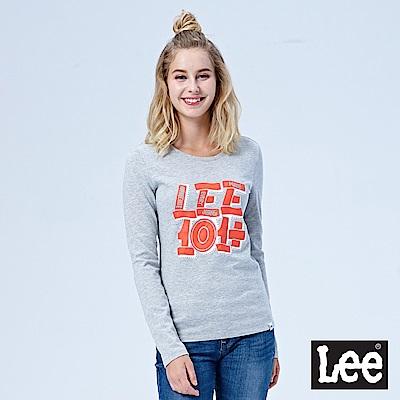Lee 101+編織圖案長袖圓領TEE-麻灰