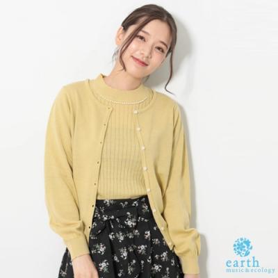 earth music 圓領素面針織罩衫+小高領珍珠針織上衣