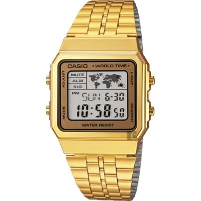 CASIO 卡西歐 地圖復刻方型金錶(A-500WGA-9DF)