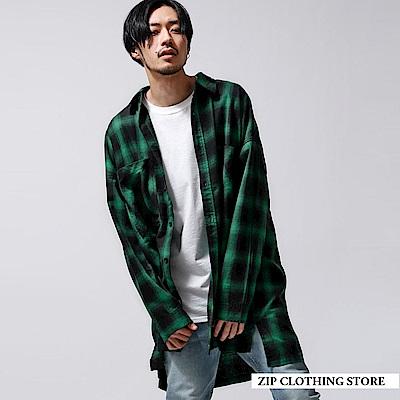落肩寬版格紋襯衫(1色) ZIP日本男裝
