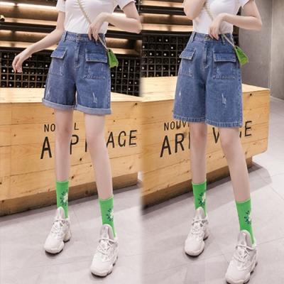 【韓國K.W.】(預購)運動宣言牛仔褲裙-1色