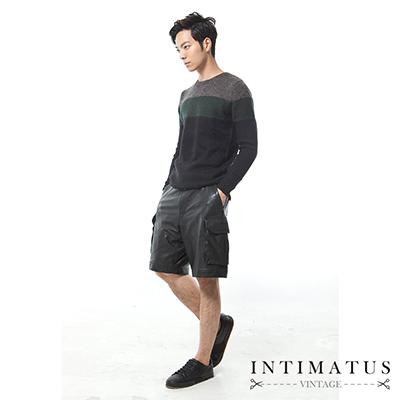 INTIMATUS 真皮 美式休閒 雙口袋短褲 帥氣黑色
