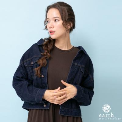 earth music 美國棉寬版剪裁牛仔外套