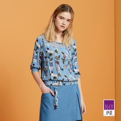 ILEY伊蕾 波點縷空花卉印花上衣(紫/藍)