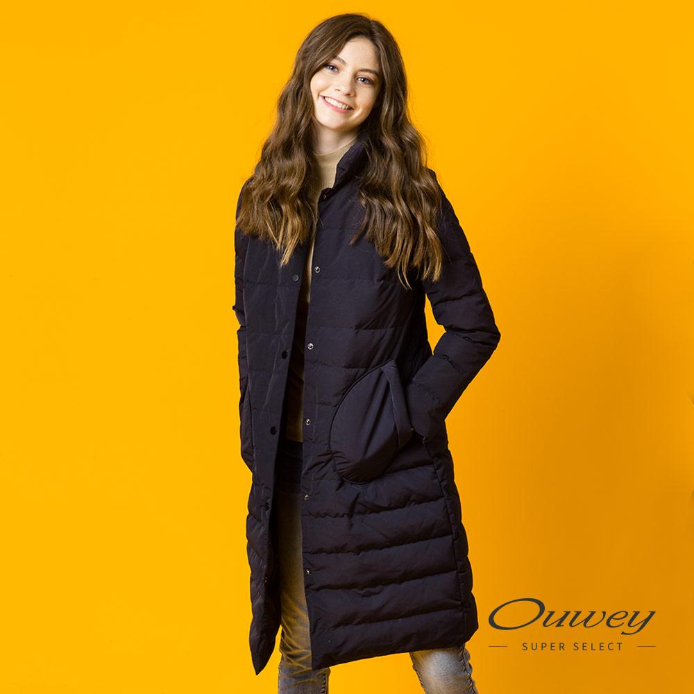 OUWEY歐薇 率性剪裁羽絨長版外套(藍) @ Y!購物