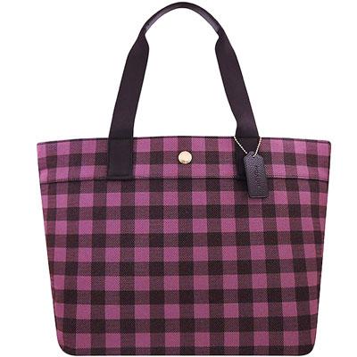 COACH 桃紅色格紋厚織帆布托特包-大型