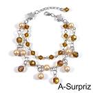 A-Surpriz 珍珠星語串珠雙層手鍊(淺咖)