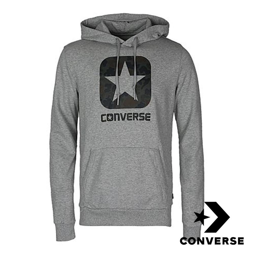 CONVERSE-男休閒連帽長T-灰-10006822-A02