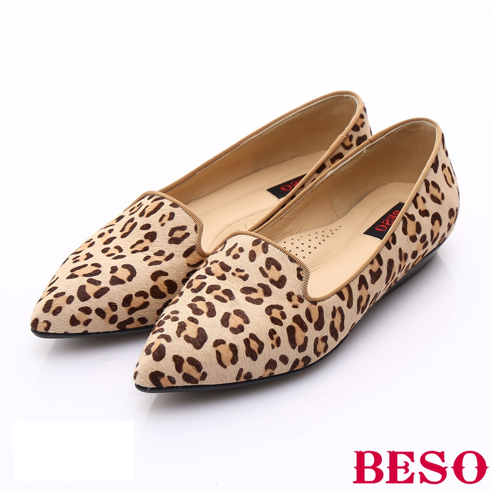 BESO 時尚核心 牛皮尖楦優雅樂福鞋~咖啡色