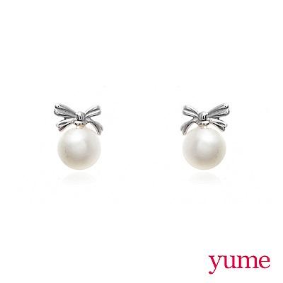 YUME - K金蝴蝶結珍珠耳環