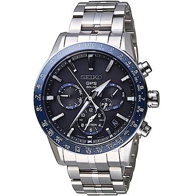 SEIKO 精工 ASTRON GPS 5X53雙時區鈦金屬腕錶(SSH001J1)-藍