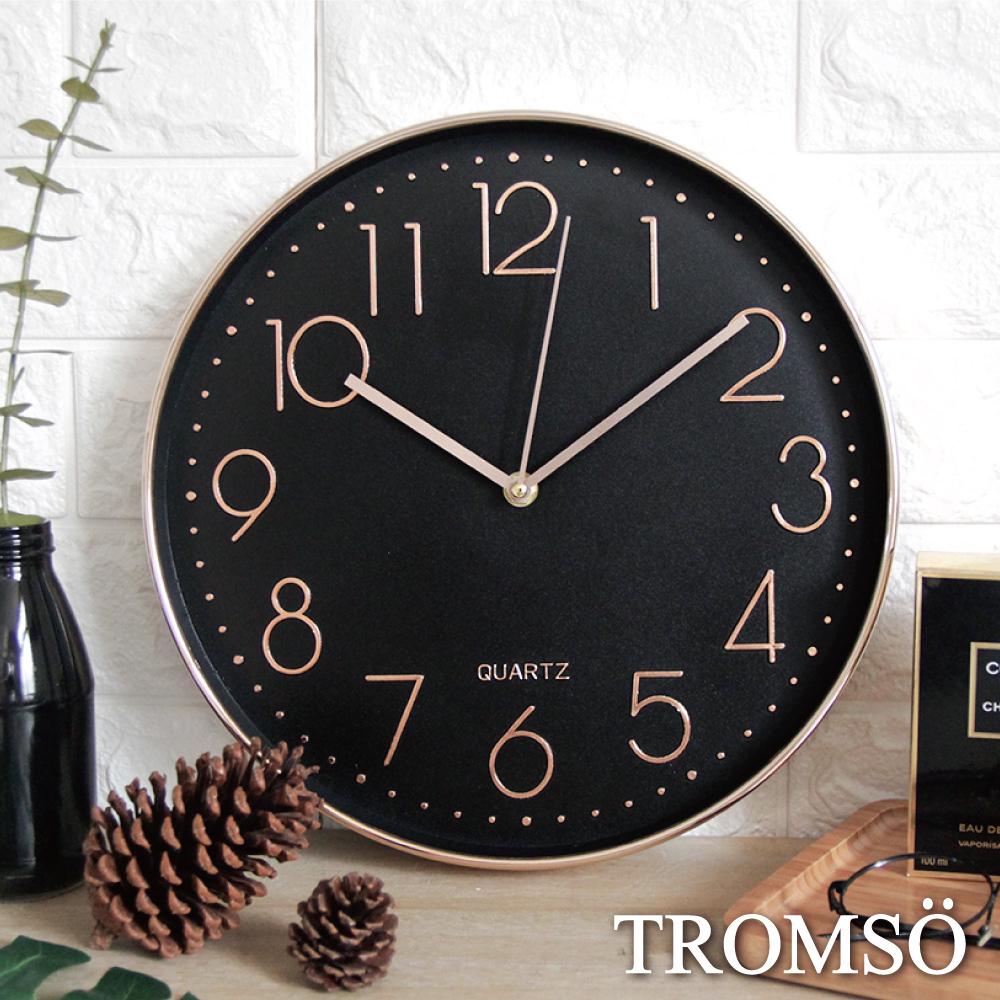 TROMSO紐約時代玫瑰金靜音時鐘-時代數字黑