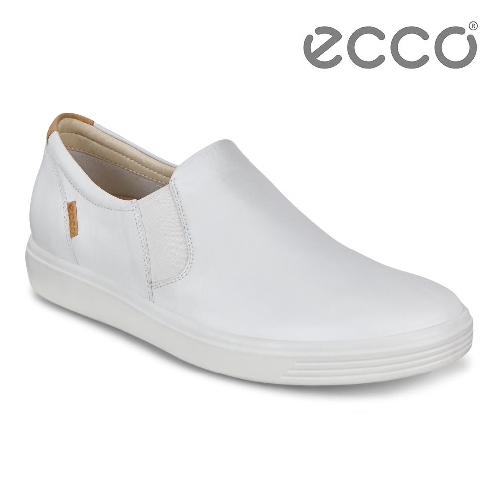ECCO SOFT 7 W 經典素色套入式休閒鞋 女-白