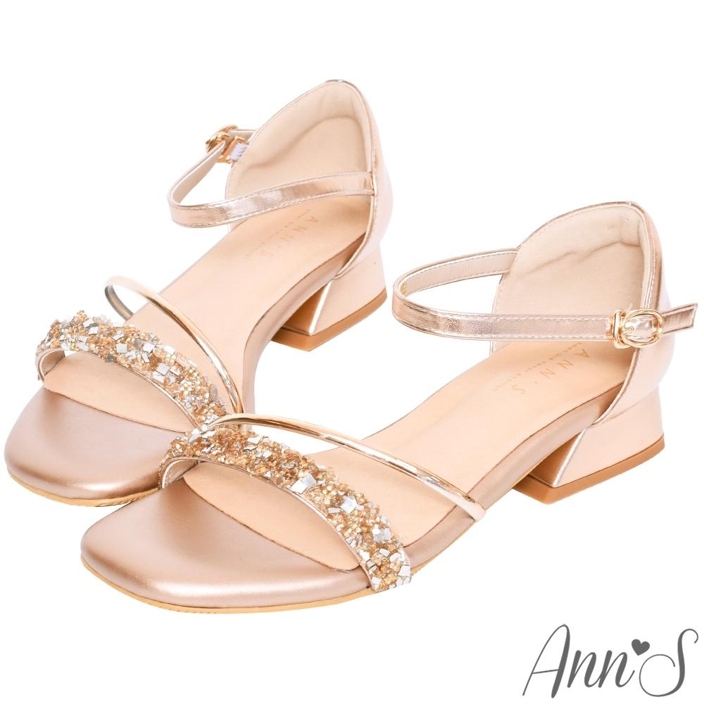 Ann'S對妳著迷鑽石糖版本-軟金屬V型顯瘦低跟方頭涼鞋-玫瑰金