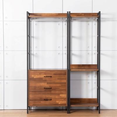 D&T德泰傢俱 格萊斯積層木工業風4.6尺三抽+單吊多功能衣櫃-140x44x196cm