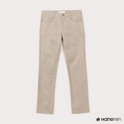 Hang Ten-男裝-經典款-SLIM FIT修身五袋款長褲-卡其色