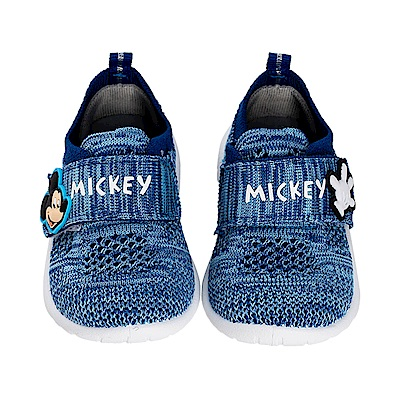 迪士尼童鞋 米奇 魔鬼氈飛織休閒鞋-藍
