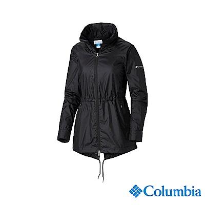 Columbia 哥倫比亞 女款-防潑水長版風衣-黑色 UWR01610BK
