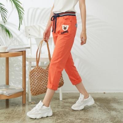 慢 生活 貼布造型棉料九分長褲- 橘