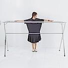[團購2入]IDEA-X型全折疊加大2.4米不鏽鋼三桿伸縮棉被衣架