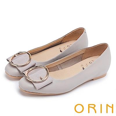 ORIN 甜美素雅 牛皮金屬圓型釦環平底娃娃鞋-灰色