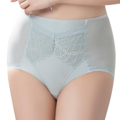 思薇爾 美波曲線系列M-XXL蕾絲高腰三角飾體褲(晨煙藍)