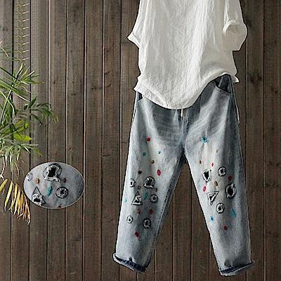 刺繡破洞純棉牛仔褲顯瘦七分褲-K1601-設計所在