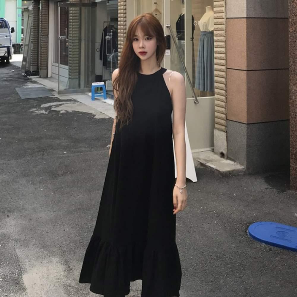 La Bellez削肩露臂魚尾裙擺背拉鍊長版背心洋裝