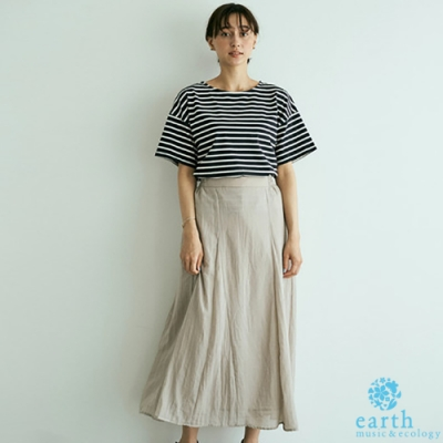 earth music 【SET ITEM】定番橫條紋落肩短袖T恤+素面長裙