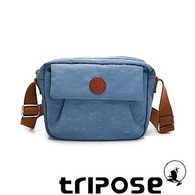 tripose PAN微皺尼龍橫式斜背包-天空藍