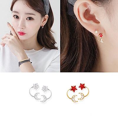 梨花HANA 韓國S925銀星和月的對話耳環