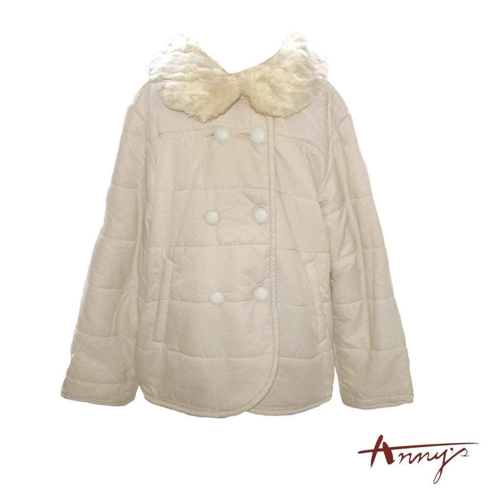 Annys甜美毛毛領雙排扣保暖鋪棉外套*1282卡其