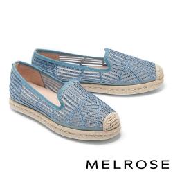休閒鞋 MELROSE 閃耀質感時尚晶鑽草編厚底休閒鞋-藍
