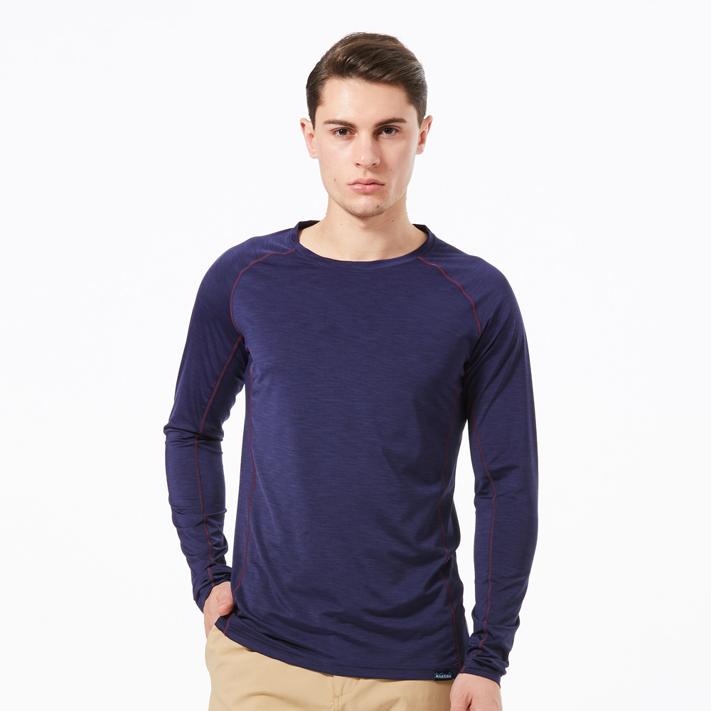 【HAKERS 】男 抗UV快乾長袖圓領衫-暮光藍