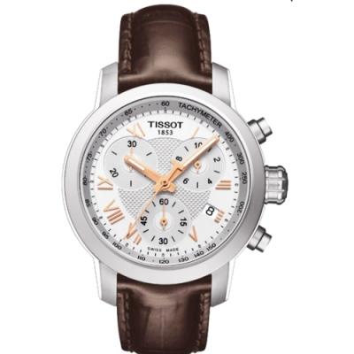 TISSOT PRC 200 ladies 唯美時尚計時腕錶-銀x咖啡/35mm T0552171603302