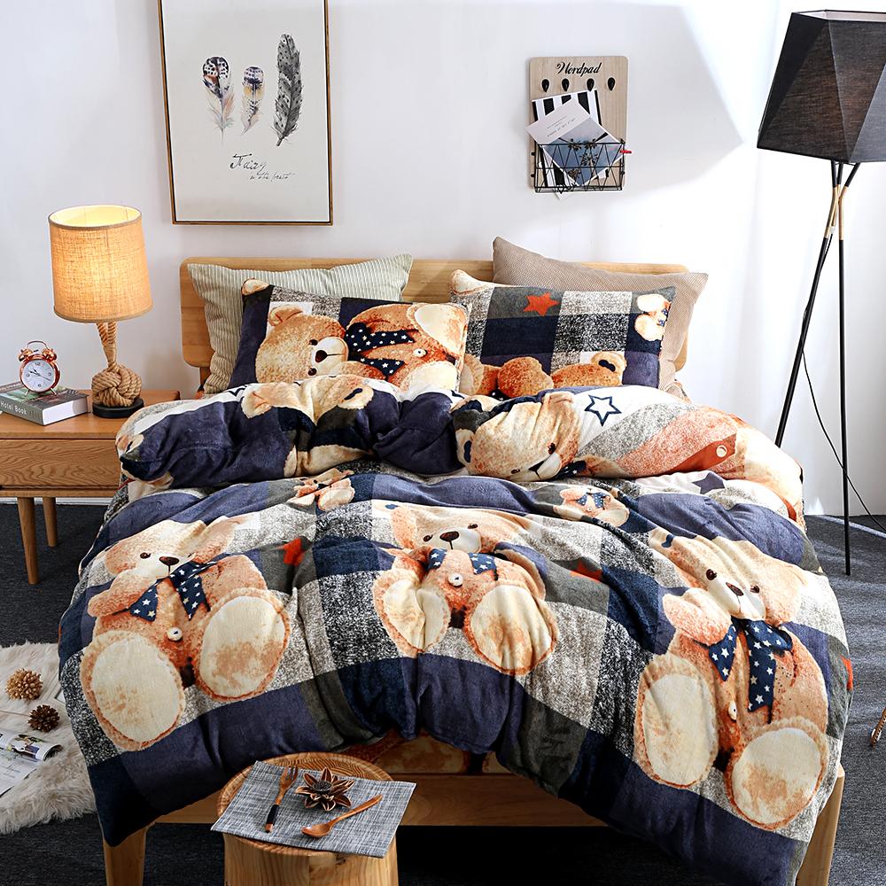 生活提案 法蘭絨加大四件式 被套床包組 泰迪