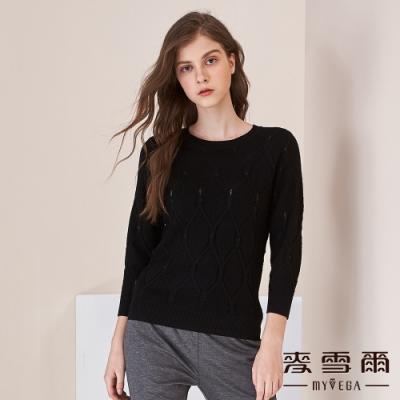 【麥雪爾】菱格紋寶石針織上衣-黑