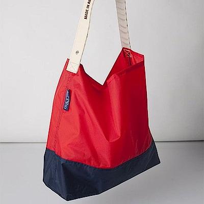 可收納式時尚托特包 (肩背雙色版) 正紅/深藍