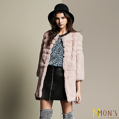 MONS 高雅修身100%兔毛長版兔毛外套/大衣