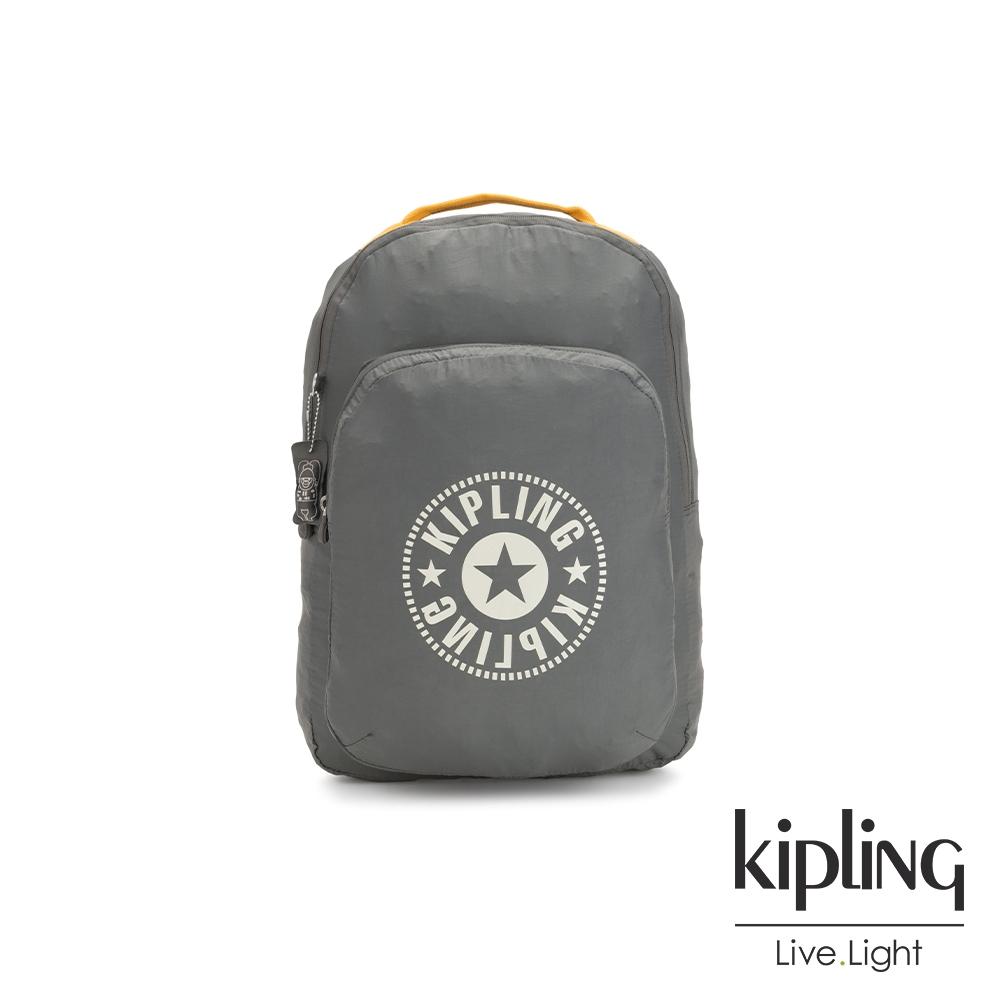 Kipling 極簡霧灰跳色亮黃好收納後背包-BACKPACK