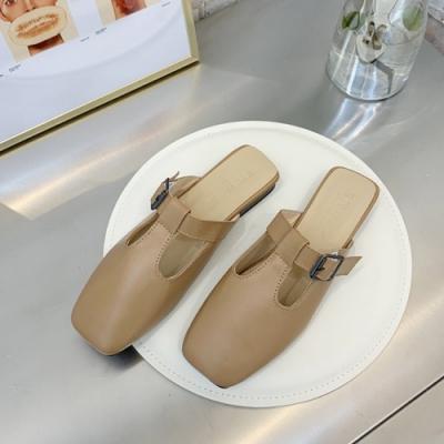 KEITH-WILL時尚鞋館 輕盈舒適簡約穆勒鞋-杏