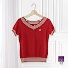 ILEY伊蕾 羅紋配邊V領針織上衣(黑/紅)