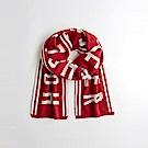 海鷗 Hollister 針織文字設計舒適保暖圍巾-紅色