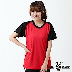 【遊遍天下】台灣製中性款輕量吸濕排汗機能圓領衫S0702紅黑